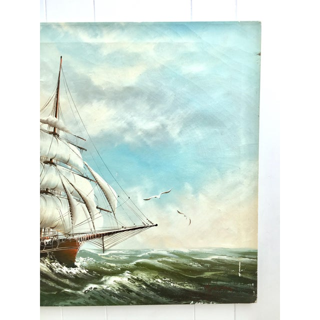 1960s Vintage Rupert Hydan Colonial Ship on the Sea Oil Painting For Sale - Image 4 of 10