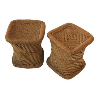 Pair of Wicker Pencil Reed Stools or Benches For Sale