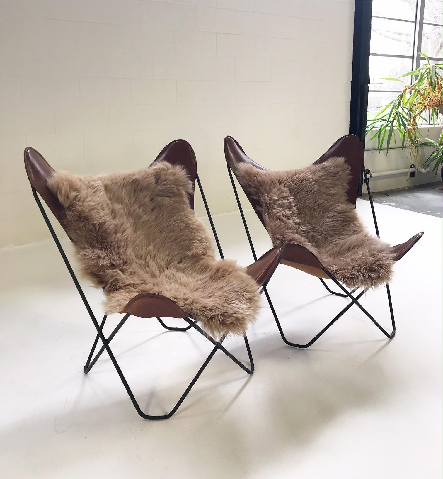 Vintage Antonio Bonet, Juan Kurchan, And Jorge Ferrari Hardoy For Knoll  Sheepskins Butterfly Chairs