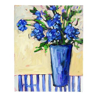 Blue Floral Impressionist Still Life Painting by Patty Baker