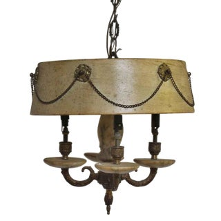 Four Light Fixture With Chain Accented Shade For Sale