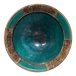 Moroccan Glazed Ceramic Plate With Hand Etched Brass For Sale