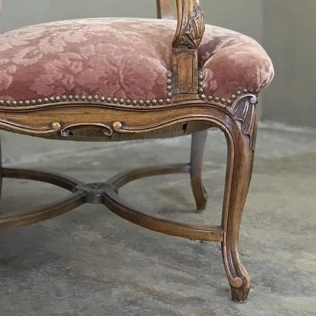 Pair Armchairs, 19th Century French Louis XV in Walnut For Sale - Image 9 of 13