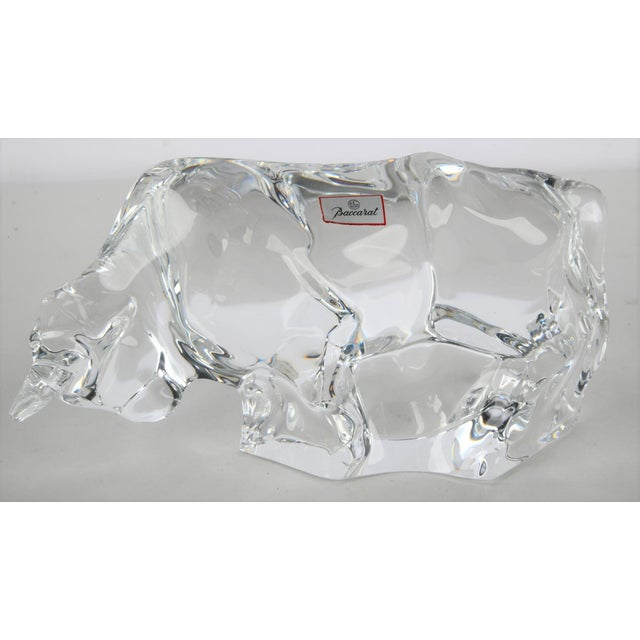 Baccarat Art Deco Style Signed Baccarat Crystal Bull Figurine For Sale - Image 4 of 6