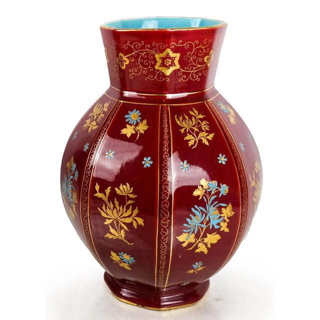 Chinoiserie Early 20th Century Large Chinoiserie Red Floral Pitcher For Sale - Image 3 of 7