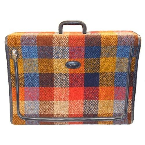 Vintage Bright Chenille Skyway Suitcase - Image 4 of 10