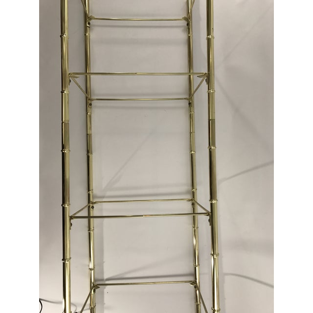 Hollywood Regency Faux Bamboo Arch Shaped Brass Etagere Frame For Sale - Image 5 of 8