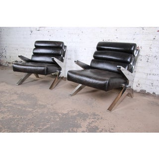 Mid-Century Modern Chrome and Leather Scissor Form Lounge Chairs, Pair Preview