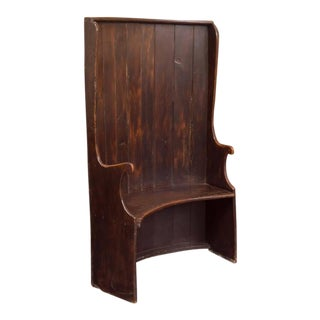 Curved Oak Settle Bench, English, circa 1800 For Sale