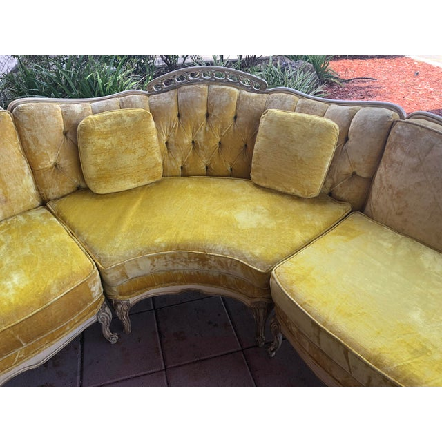 Hollywood Regency Yellow Velvet Italian Sectional For Sale - Image 4 of 8