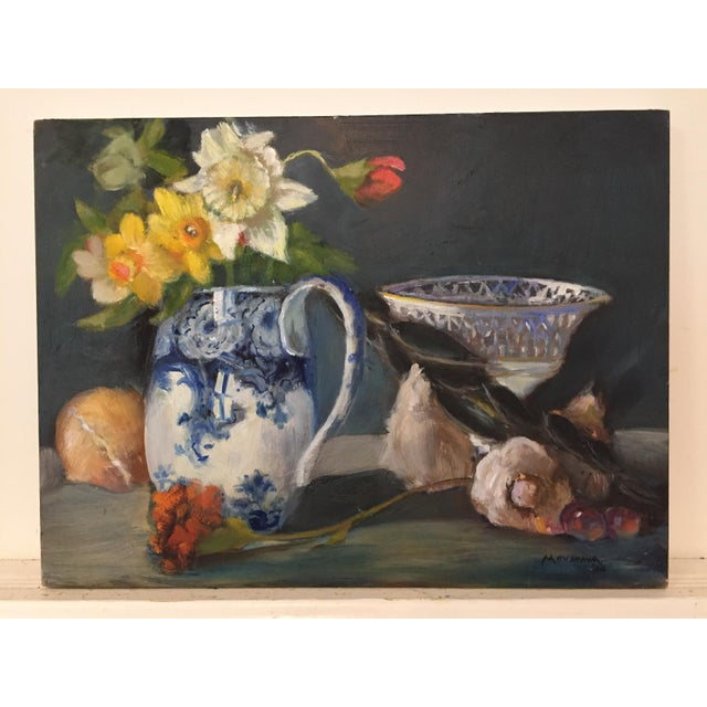 Renaissance Contemporary Dutch Style Still Life of Flowers and Vegetables Oil Painting by Marina Movshina For Sale - Image 3 of 3