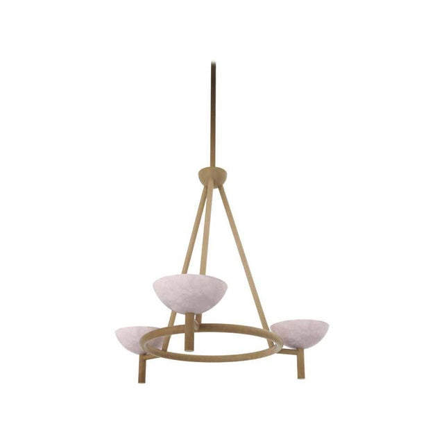 Metal Contemporary 200A Chandelier in Alabaster and Brushed Brass by Orphan Work, 2020 For Sale - Image 7 of 7