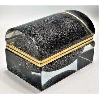 Murano Glass Box by Alessandro Mandruzzato - Silver and Black Heavy Glass - Italy Italian Mid Century Modern Palm Beach Boho Chic Preview