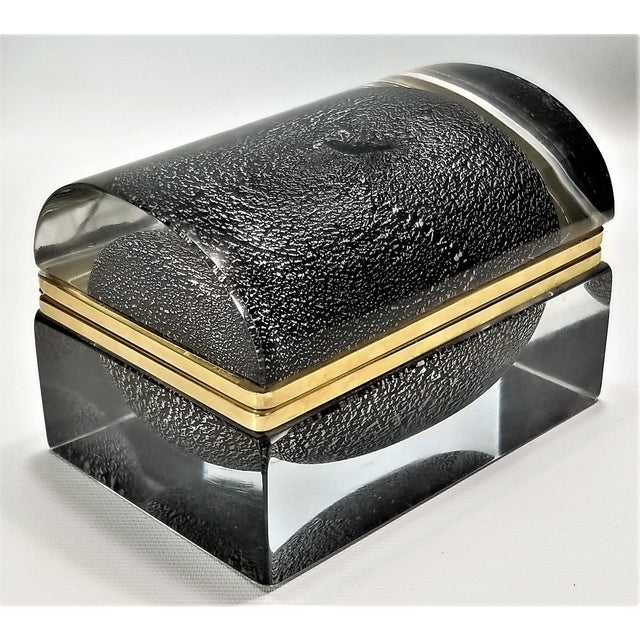 Offering a large vintage silver leaf and black Murano glass sommerso box, made in Italy by Alessandro Mandruzzato, circa...