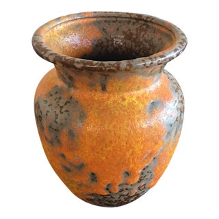 1960s Rustic Alrun Guest Orange Lava Peel Vase For Sale
