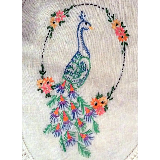 Vintage Peacock Embroidered Ecru Doilies - S/3 - Image 7 of 8