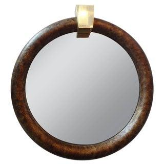 1970s Mid-Century Modern Karl Springer Style Faux Tortoise Shell Mirror