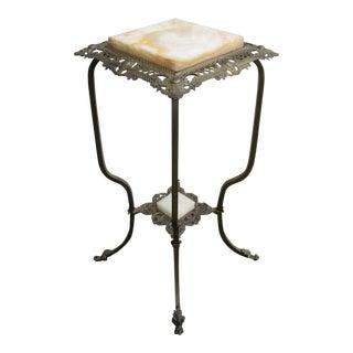 Brass Onyx Table Flower Pedestal For Sale