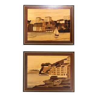 Vintage Marquetry Nautical Inlaid Wood Art, Set of 2 For Sale