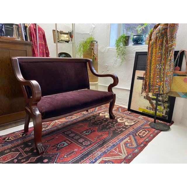 Schumacher Mohair Velvet Empire Bench Settee For Sale - Image 10 of 10