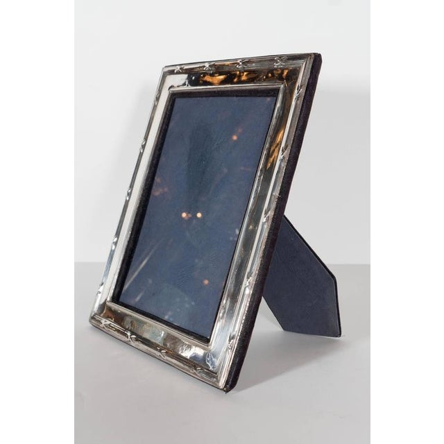 Modern Elegant Sterling Silver Ribbon and Reed Picture Frame For Sale - Image 3 of 7