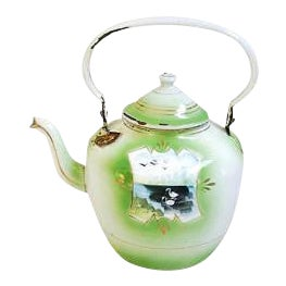 Early 1900s Hand-Painted French Country Tea Kettle Pot