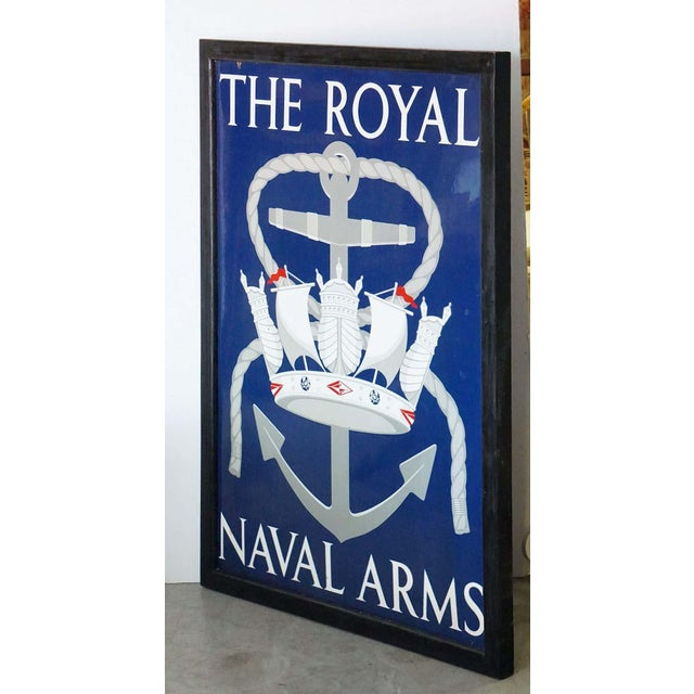 "Vinage English Pub Sign, ""The Royal Naval Arms"" For Sale - Image 4 of 13"