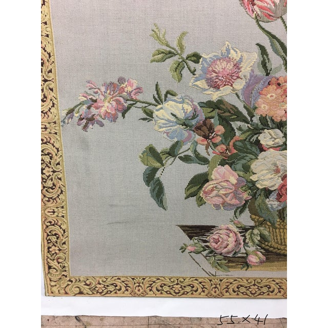 English Traditional Vintage English Handmade Tapestry Floral Still Life For Sale - Image 3 of 7