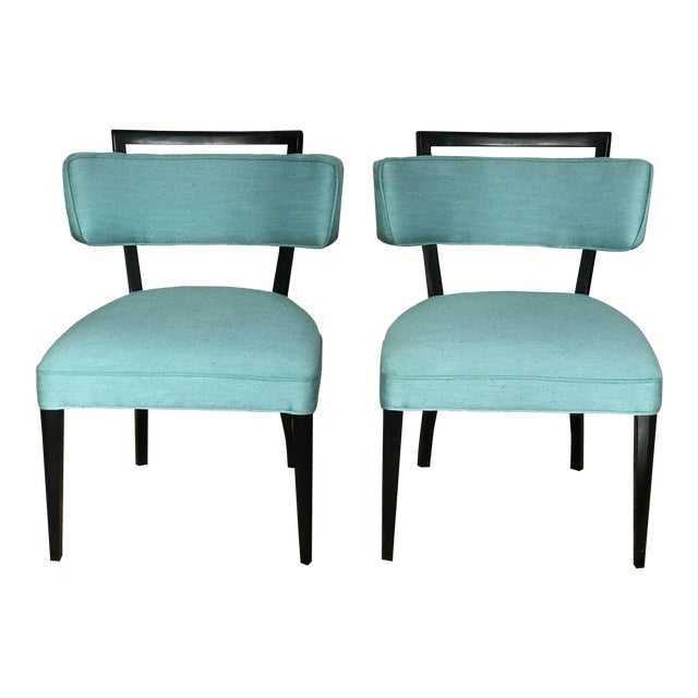 Modern Black Lacquer and Teal Accent Chairs - A Pair For Sale