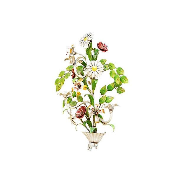 1940s Italian Hand-Painted Tole Floral Sconce - Image 6 of 7