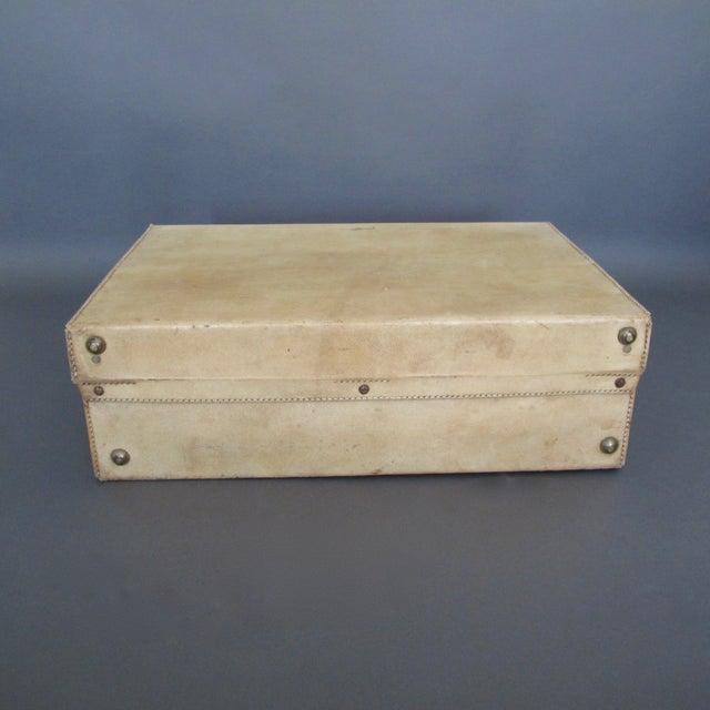 Antique 1920 Cream Vellum Suitcase For Sale - Image 9 of 11