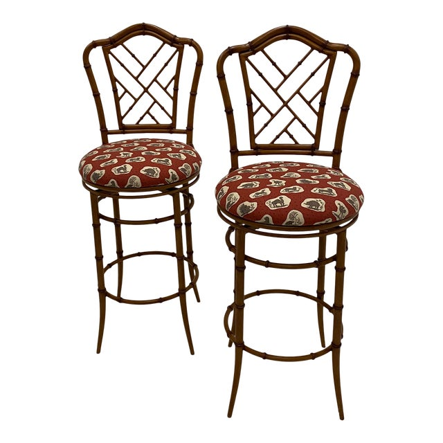Faux Bamboo Swivel Counter Stools -Pair For Sale