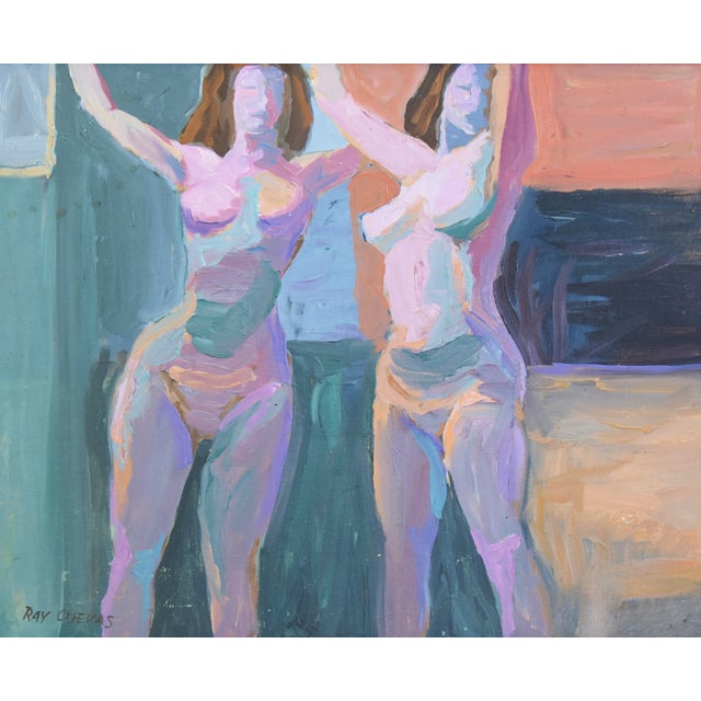 Late 20th Century Modern Ray Cuevas, Plein Air Oil Painting Female Nudes For Sale - Image 5 of 10