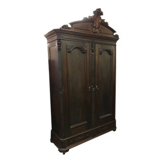 Late 19th Century Vintage Victorian Monumental Mahogany Linen Press For Sale