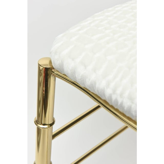 Brass Vintage Mid Century Italian Chiavari Faux Bamboo Brass and Upholstered Side Chair For Sale - Image 7 of 11