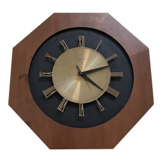 Mid Century Modern Elgin Wall Clock in Walnut Wood and Brass For Sale