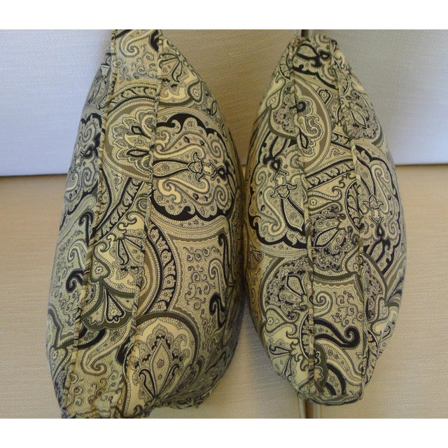 2010s Contemporary Cotton Paisley Black and White Pillows - a Pair For Sale - Image 5 of 8