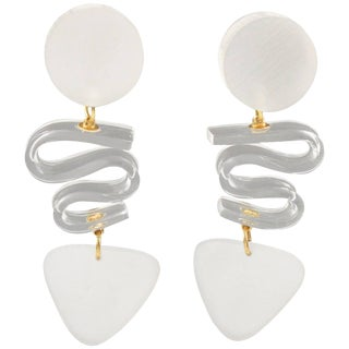 Harriet Bauknight for Kaso Frosted White Lucite Dangle Clip on Earrings For Sale