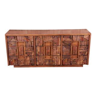 Paul Evans Style Lane Pueblo Brutalist Oak Long Dresser or Credenza, 1970s For Sale