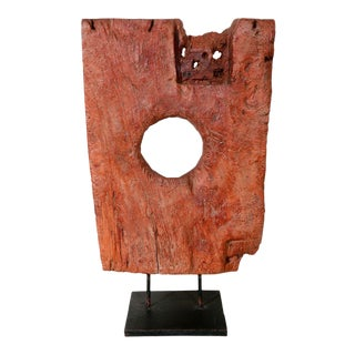 Vintage Asian Hand Hewn Wood Sculpture For Sale