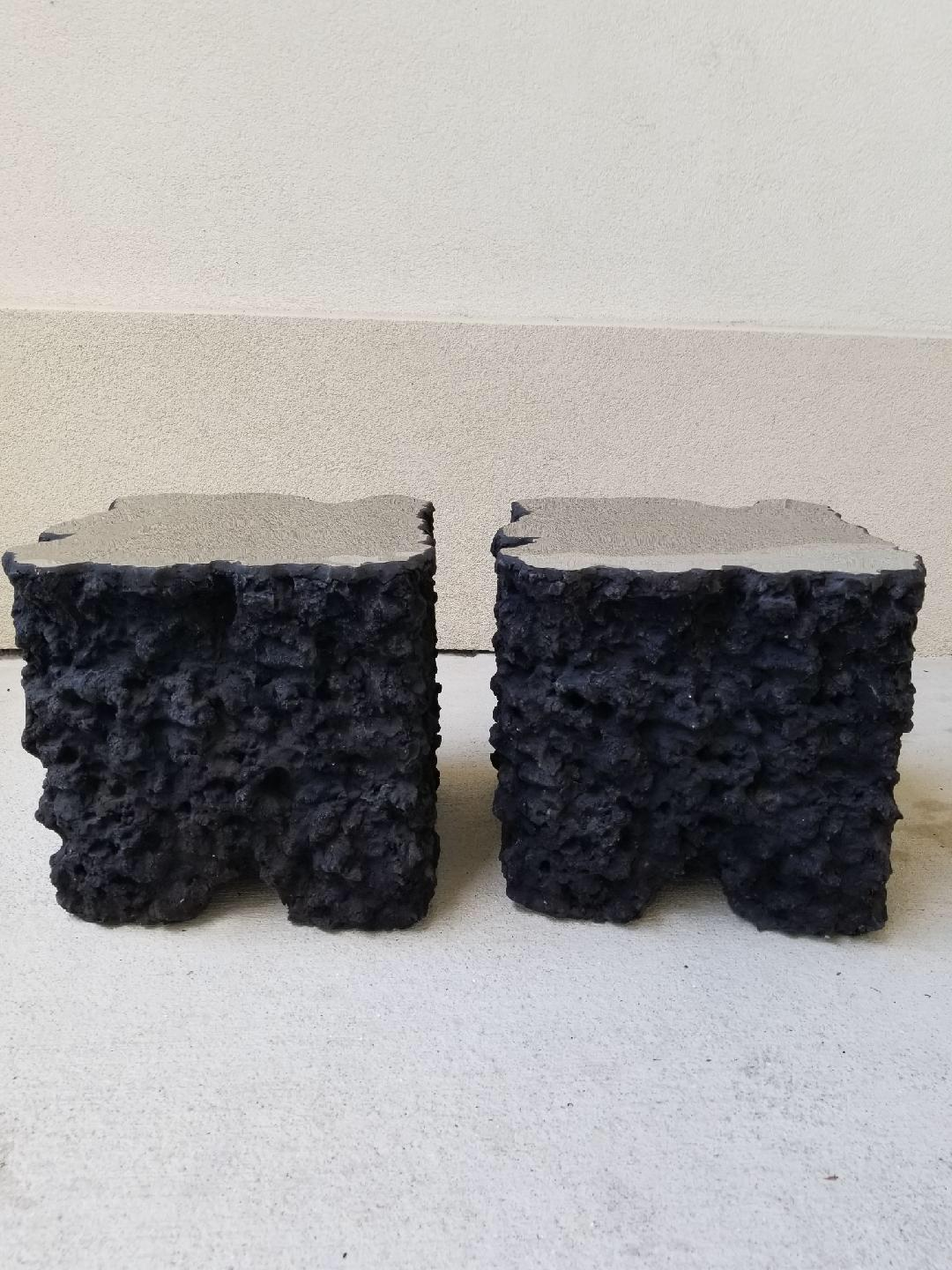 Abstract Lava Rock Mirror Top Side Tables   A Pair For Sale   Image 3 Of