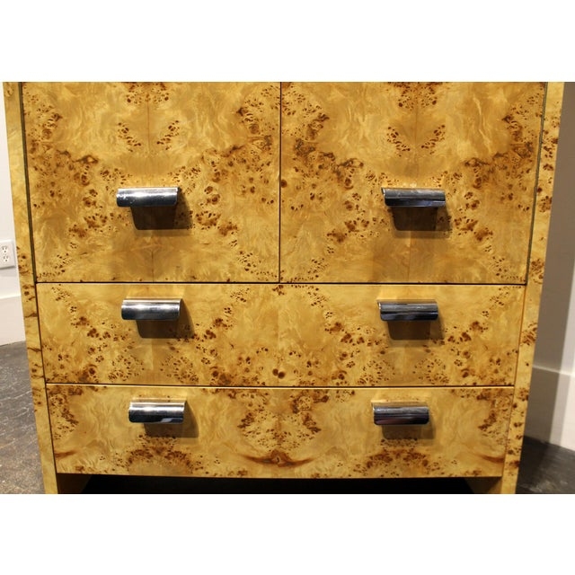 Mid Century Modern Burl and Chrome High Chest Wardrobe by Pace For Sale In Dallas - Image 6 of 10