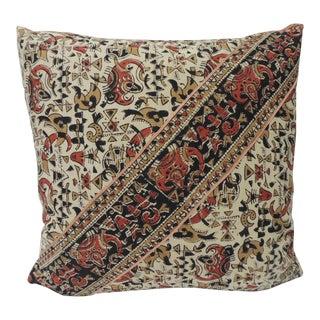 Vintage Persian Hand-Blocked Kalamkari Square Throw Pillow For Sale