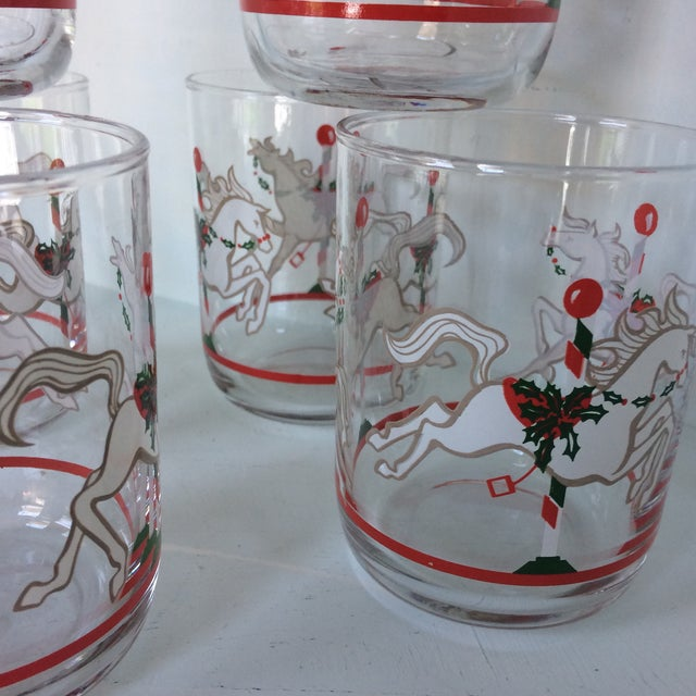 Green Libbey Merry-Go-Round Glasses - Set of 6 For Sale - Image 8 of 13