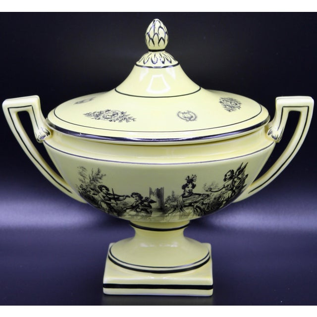 Mid 20th Century Italian Mottahedeh Yellow Handled Urn With Artichoke Lid For Sale - Image 12 of 13