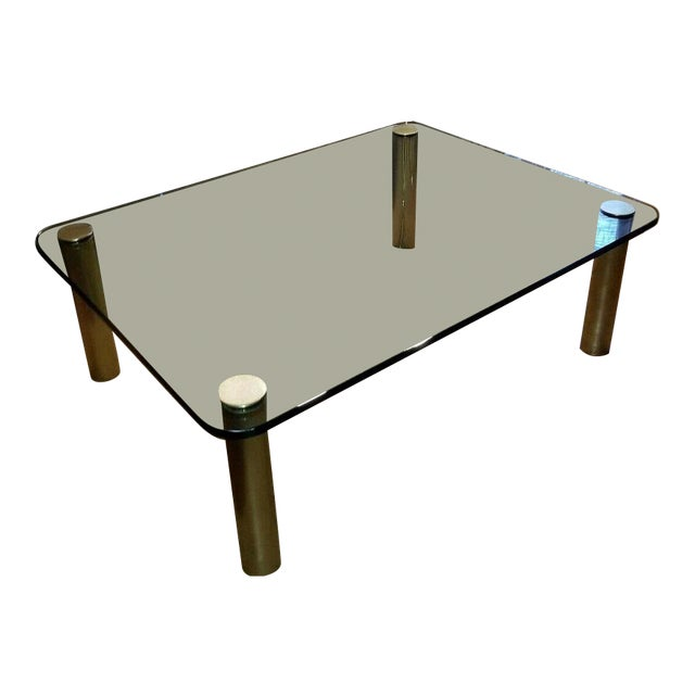 Brass and Glass Coffee Table by the Pace Collection Leon Rosen For Sale
