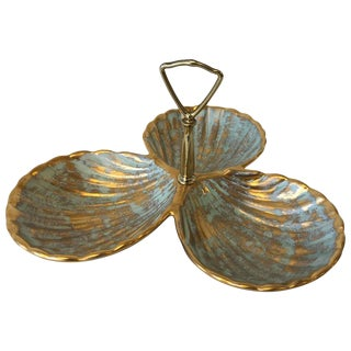1970s Stangl Gold and Turquoise Seashell Serving Dish For Sale