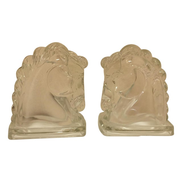 Art Deco Glass Horse Head Bookends - A Pair - Image 1 of 5