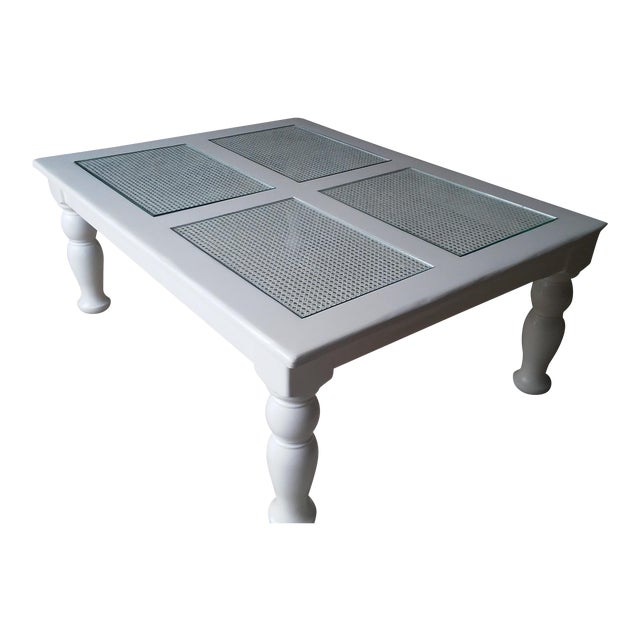 Cane & Glass Coffee Table - Image 1 of 4