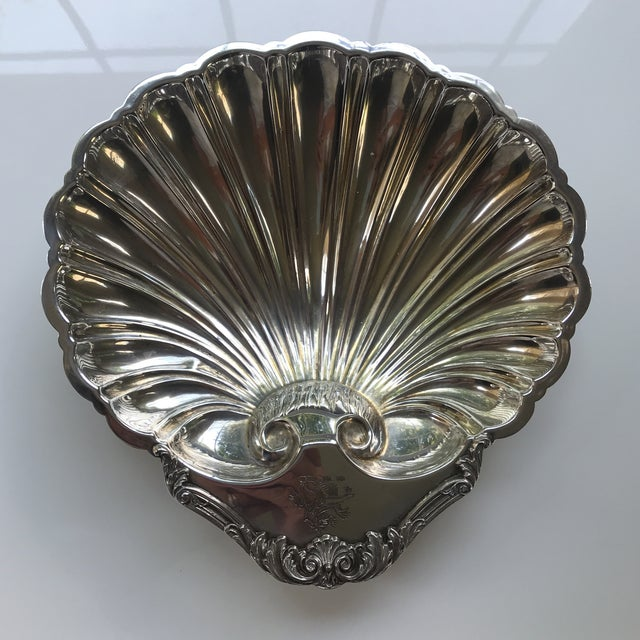 20th Century Regency Silverplate Dolphin Footed Scallop Shell Platter For Sale - Image 9 of 9